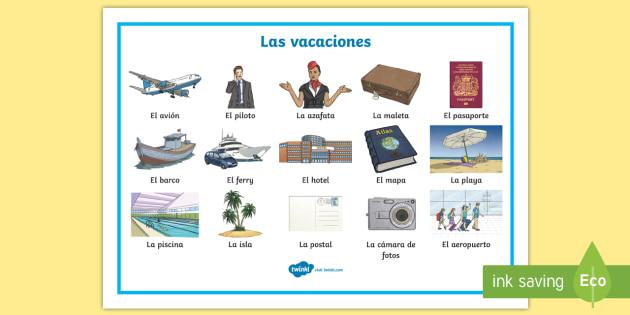 Holiday Travel Topic Word Mat - Spanish (teacher made)