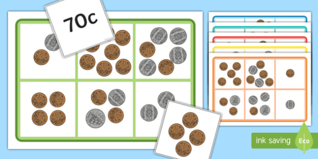Money Bingo to 1 Dollar Using 10c, 20c, 50c coins - nz, new zealand, money, bingo, game, activity, 1 dollar, coins, cents
