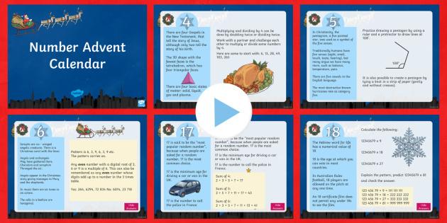 UKS2 Number Advent Calendar PowerPoint