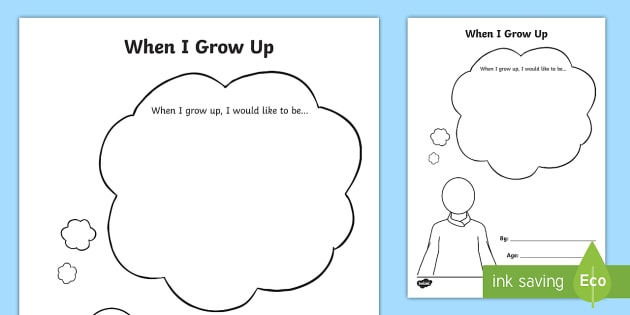when i grow up worksheet activity sheet eyfs early years. Black Bedroom Furniture Sets. Home Design Ideas