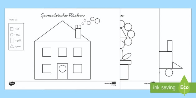 geometrische fl chen erkennen und anmalen arbeitsblatt. Black Bedroom Furniture Sets. Home Design Ideas