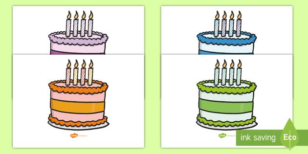 Editable Birthday Cakes 4 Candles
