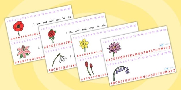 Flower Themed Number and Alphabet Strips - visual aids, flowers