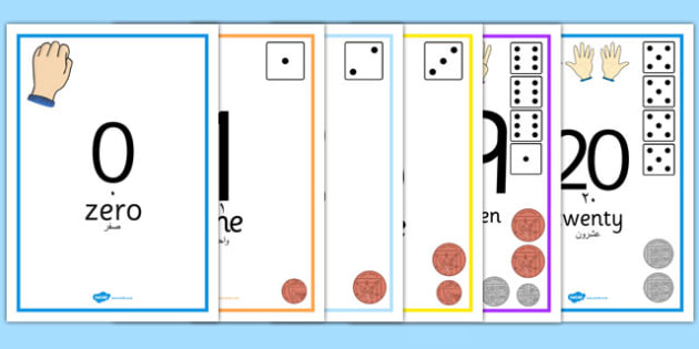 Visual Numberline Posters 0 20 Arabic Translation - arabic, visual, number line, posters, display, 1-20
