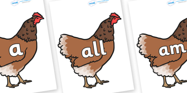 Foundation Stage 2 Keywords on Hens - FS2, CLL, keywords, Communication language and literacy,  Display, Key words, high frequency words, foundation stage literacy, DfES Letters and Sounds, Letters and Sounds, spelling