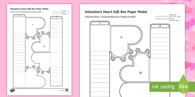 Simple 3D Valentines Gift Box Activity Paper Craft