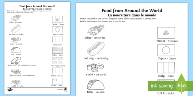 Food from Around the World Activity Sheet English/French - food