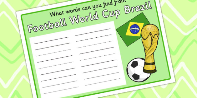 Football Word Finding Worksheet - world cup, sports, literacy