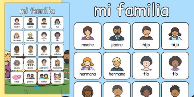 Póster de vocabulario - Mi familia - padre, madre, hermano, abuelo, parientes, árbol de familia