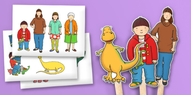 Stick Puppets to Support Teaching on Harry and the Bucketful of Dinosaurs - puppets