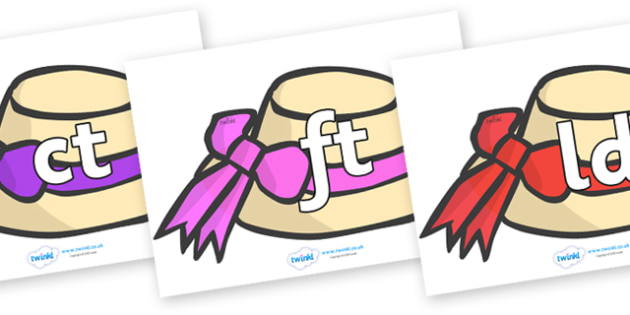 Final Letter Blends on Summer Hats - Final Letters, final letter, letter blend, letter blends, consonant, consonants, digraph, trigraph, literacy, alphabet, letters, foundation stage literacy