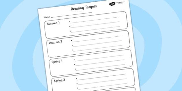 Reading Half Termly Individual Targets-reading, reading targets, targets, individual targets, half term, half term targets, reading goals, literacy