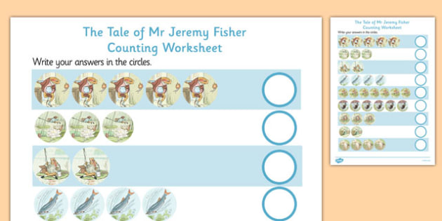 The Tale of Mr Jeremy Fisher Counting Sheet - mr jeremy fisher, counting, sheet, count, maths, numeracy