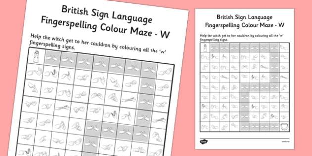 British Sign Language Fingerspelling Colour Maze W - colour, maze