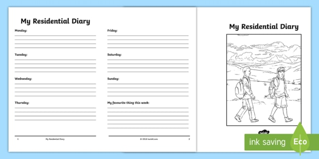 NEW * My Residential Diary Writing Template - school visit