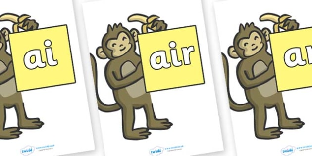 Phase 3 Phonemes on Monkeys - Phonemes, phoneme, Phase 3, Phase three, Foundation, Literacy, Letters and Sounds, DfES, display