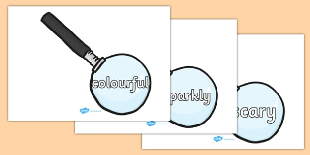 Wow Words on Magnifying Glasses - Wow words, adjectives, VCOP, describing, Wow, display, poster, wow display, tasty, scary, ugly, beautiful, colourful sharp, bouncy
