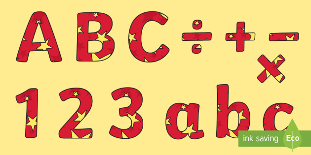 Red and Yellow Stars Editable Display Lettering - letter, display