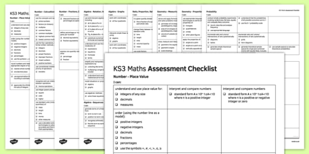 KS3 Maths Assessment Checklist - ks3, maths, assessment, checklist