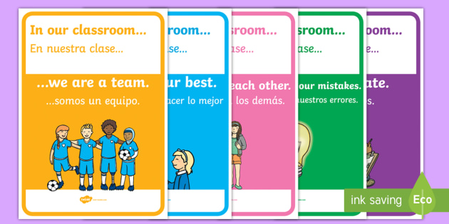 In Our Classroom Display Posters - English / Spanish - In