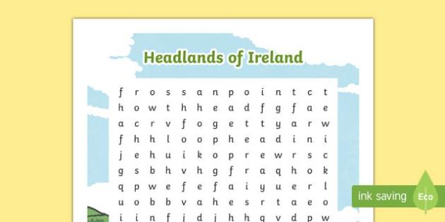 Headlands of Ireland Word Search