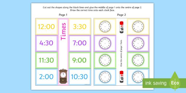 Time Writing Clocks Foldable Visual Aid O'clock and Half Past - time, writing, clocks, foldable, visual aid, o'clock, half past