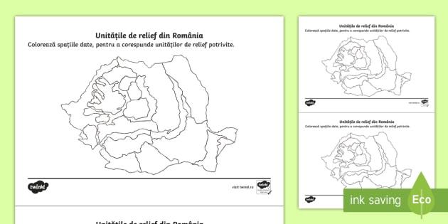 Colorează Formele De Relief Ale României Fișă De Lucru România