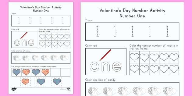 Valentines Day Number One Worksheet  Activity Sheet