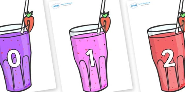 Numbers 0-100 on Smoothies - 0-100, foundation stage numeracy, Number recognition, Number flashcards, counting, number frieze, Display numbers, number posters