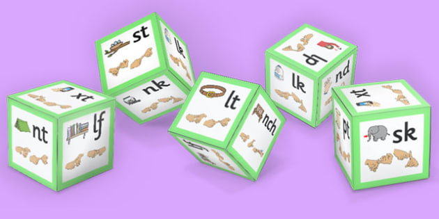 Phase 4 Final Blends Sound Dice Nets with Images British Sign Language