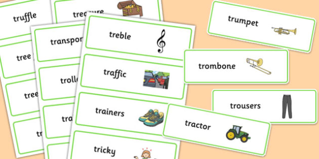 Premise Indicator Words: Two Syllable, Tr, Word Cards
