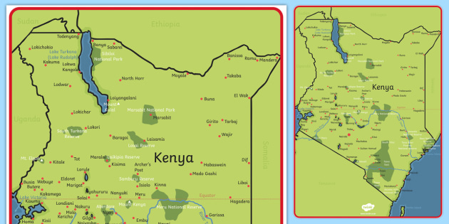 Map of Kenya Display Poster - Africa, Kenya, display, map ...