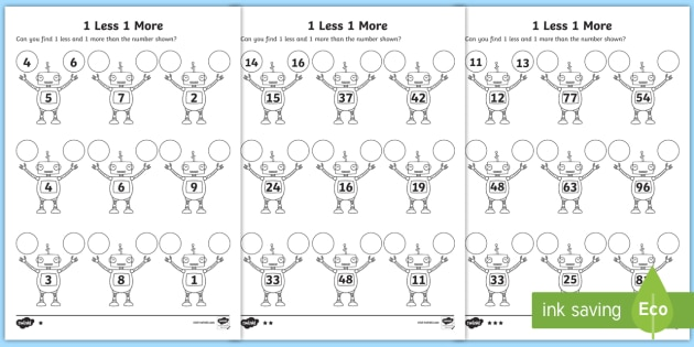1 More 1 Less Robots Worksheet / Activity Sheet - activity