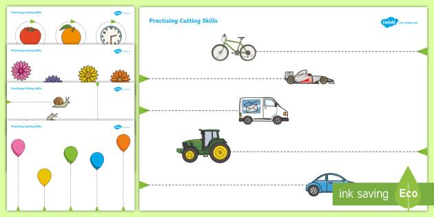 Scissor Cutting Skills Workbook - education, home school, free