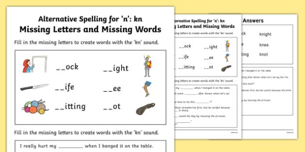 Kn Grapheme Missing Words Phase 5 Alternative Spelling Activity Sheet, worksheet