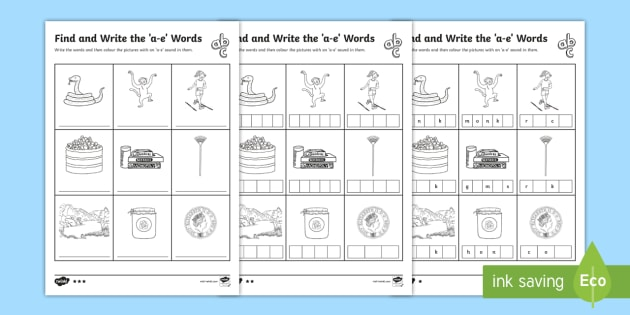 Find and Write the a e Words Differentiated Worksheet ...