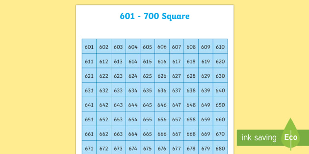 601-700 Square - number square, hundred square, number, numbers, square, count, 601-700