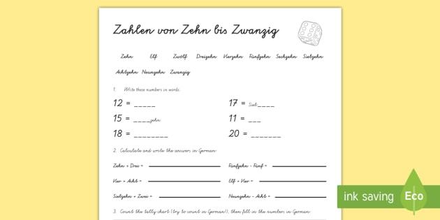 Numbers Ten to Twenty Worksheet / Worksheet German - Numbers, Counting