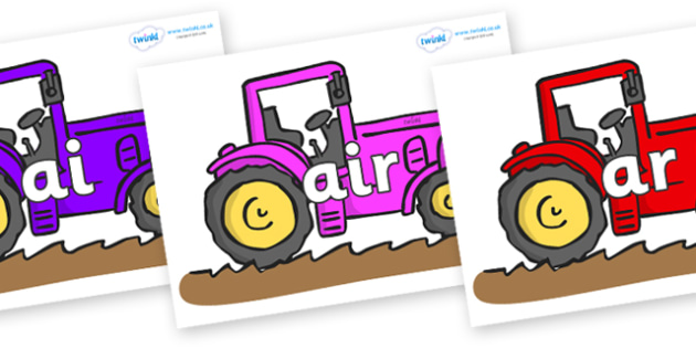 Phase 3 Phonemes on Tractors - Phonemes, phoneme, Phase 3, Phase three, Foundation, Literacy, Letters and Sounds, DfES, display