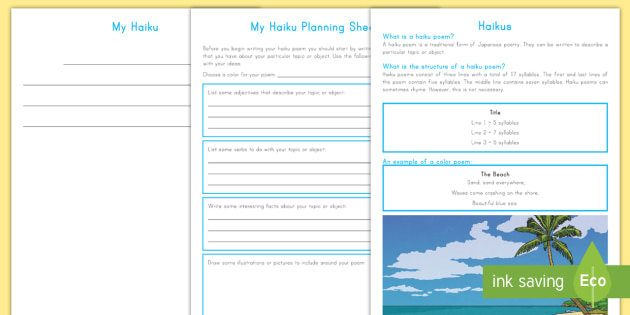 Haiku Poem Writing Template - writing, templates, haiku