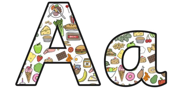 food themed display letters food alphabet food lettering food display lettering food