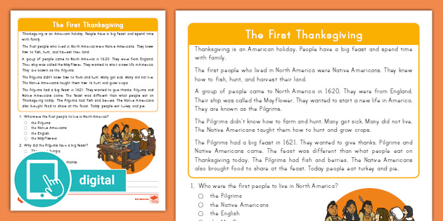 Second Grade The First Thanksgiving Reading Passage Comprehension Activity