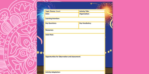 Diwali Themed Adult Led Focus Planning Template - festivals, plan