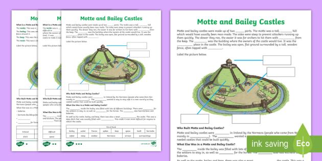 motte and bailey castles cloze differentiated worksheet. Black Bedroom Furniture Sets. Home Design Ideas