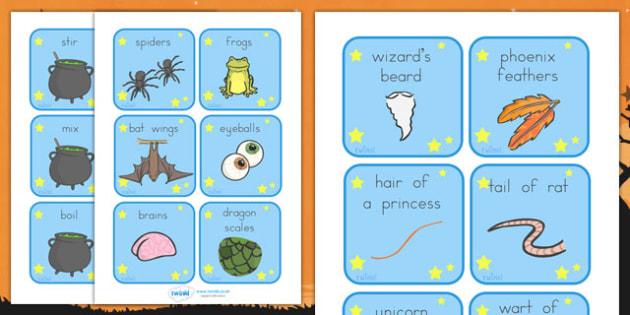 Halloween Magic Potion Prompt Cards - halloween, halloween cards, halloween magic words, halloween key words, halloween inspiration words, prompt, writing