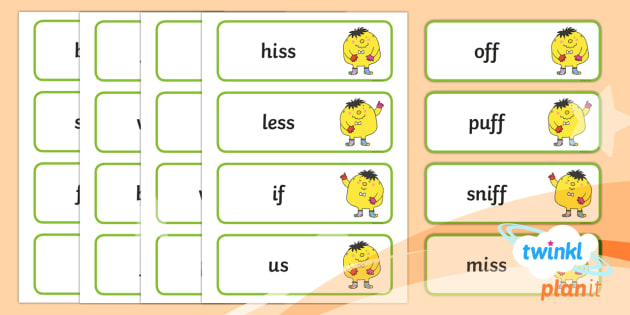 PlanIt English Additional Resources Y1 Term 1A Spelling Word Cards  - Spellings Year 1, Term 1A, word cards, mr whoops, literacy, english, spellings, y1, ks1