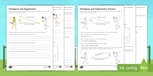 Wimbledon Pythagoras And Trigonometry Worksheet Activity Sheet
