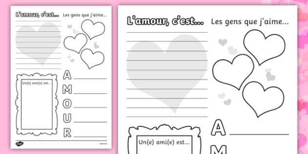 valentine 39 s day worksheet french french worksheets. Black Bedroom Furniture Sets. Home Design Ideas