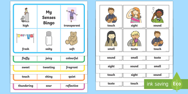 My Senses Bingo - Smell, sight, sound, hearing, bingo, game, activity, taste, touch, ourselves, all about me, my body, senses, emotions, family, body, growth