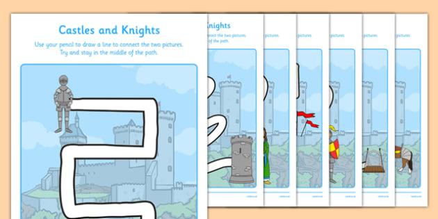 Castles and Knights Pencil Control Path Activity Sheet Pack - motor skills, worksheet